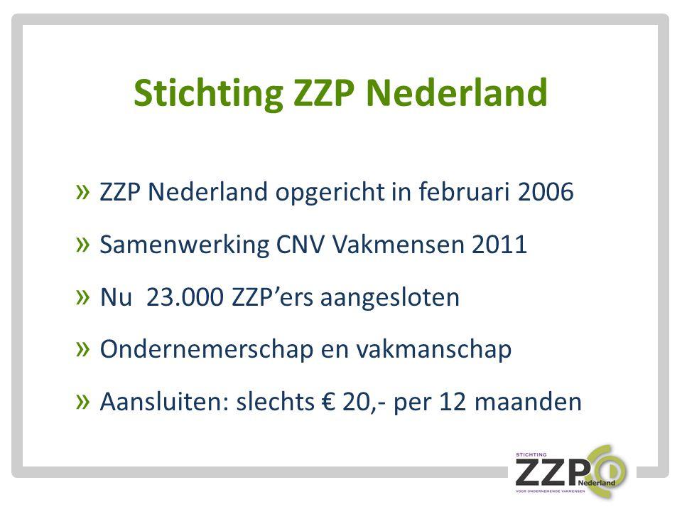 Stichting ZZP Nederland » ZZP Nederland opgericht in februari 2006 » Samenwerking CNV Vakmensen 2011 » Nu 23.000 ZZP'ers aangesloten » Ondernemerschap en vakmanschap » Aansluiten: slechts € 20,- per 12 maanden