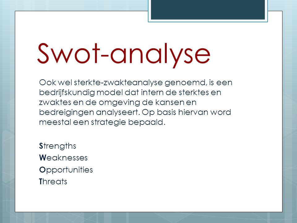 Swot-analyse Ook wel sterkte-zwakteanalyse genoemd, is een bedrijfskundig model dat intern de sterktes en zwaktes en de omgeving de kansen en bedreigi