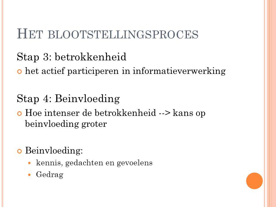 Stap 3: betrokkenheid het actief participeren in informatieverwerking Stap 4: Beinvloeding Hoe intenser de betrokkenheid --> kans op beinvloeding grot