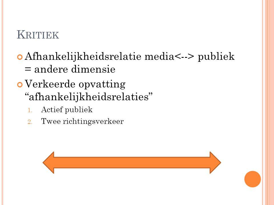 """K RITIEK Afhankelijkheidsrelatie media publiek = andere dimensie Verkeerde opvatting """"afhankelijkheidsrelaties"""" 1. Actief publiek 2. Twee richtingsver"""