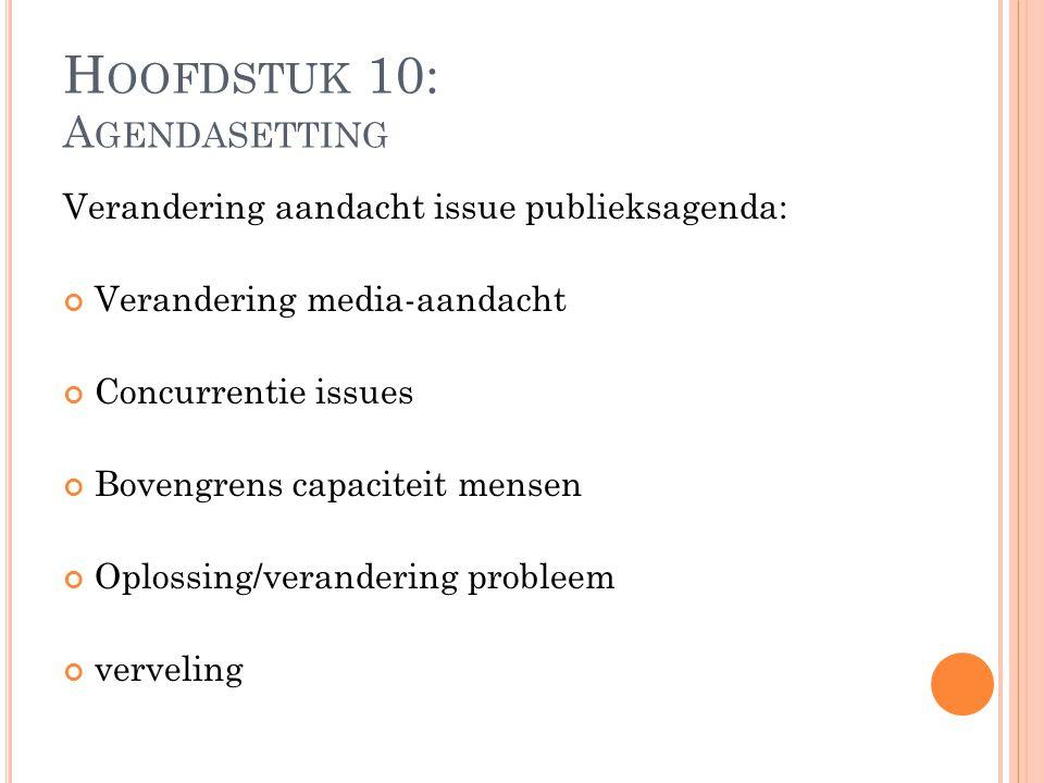 Verandering aandacht issue publieksagenda: Verandering media-aandacht Concurrentie issues Bovengrens capaciteit mensen Oplossing/verandering probleem