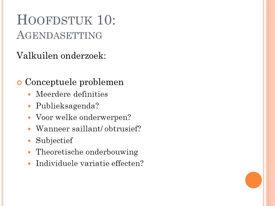 Valkuilen onderzoek: Conceptuele problemen Meerdere definities Publieksagenda? Voor welke onderwerpen? Wanneer saillant/ obtrusief? Subjectief Theoret
