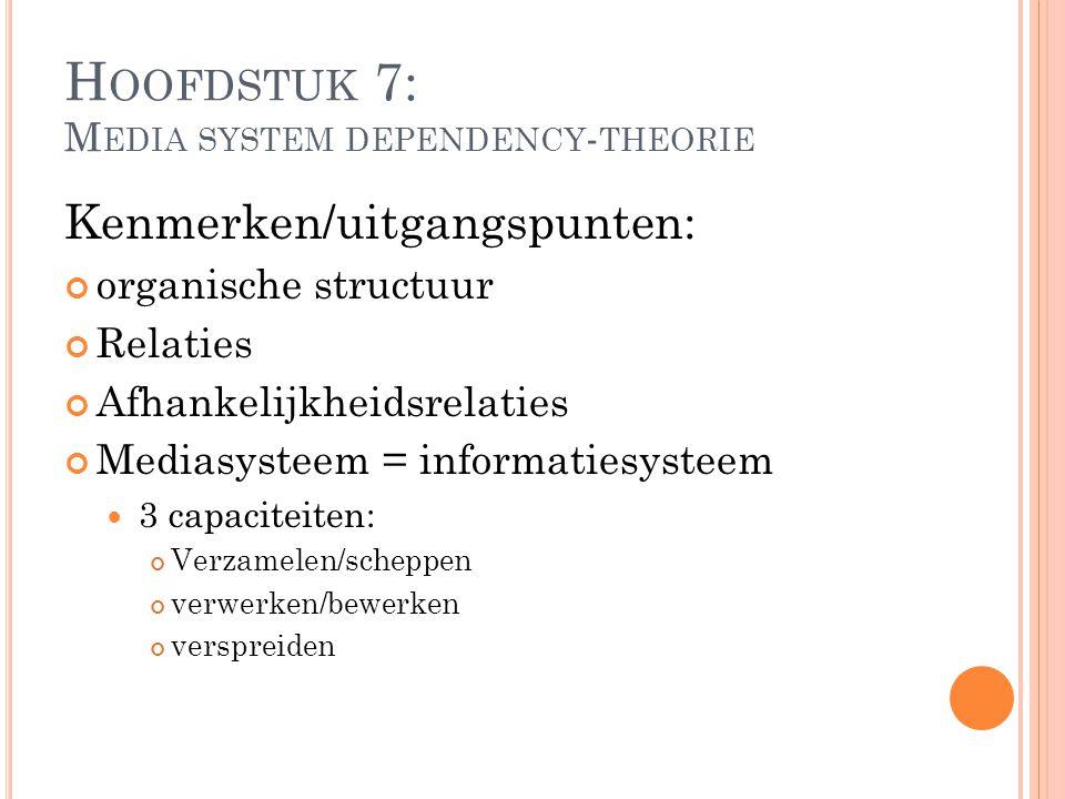 H OOFDSTUK 7: M EDIA SYSTEM DEPENDENCY - THEORIE Kenmerken/uitgangspunten: organische structuur Relaties Afhankelijkheidsrelaties Mediasysteem = infor