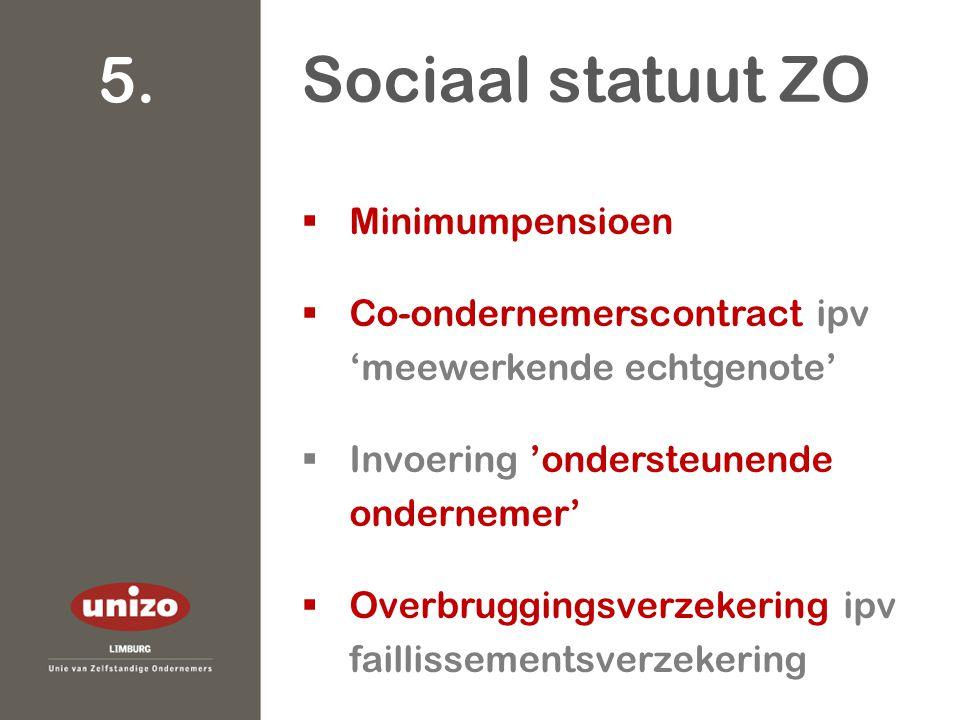  Minimumpensioen  Co-ondernemerscontract ipv 'meewerkende echtgenote'  Invoering 'ondersteunende ondernemer'  Overbruggingsverzekering ipv faillissementsverzekering Sociaal statuut ZO 5.