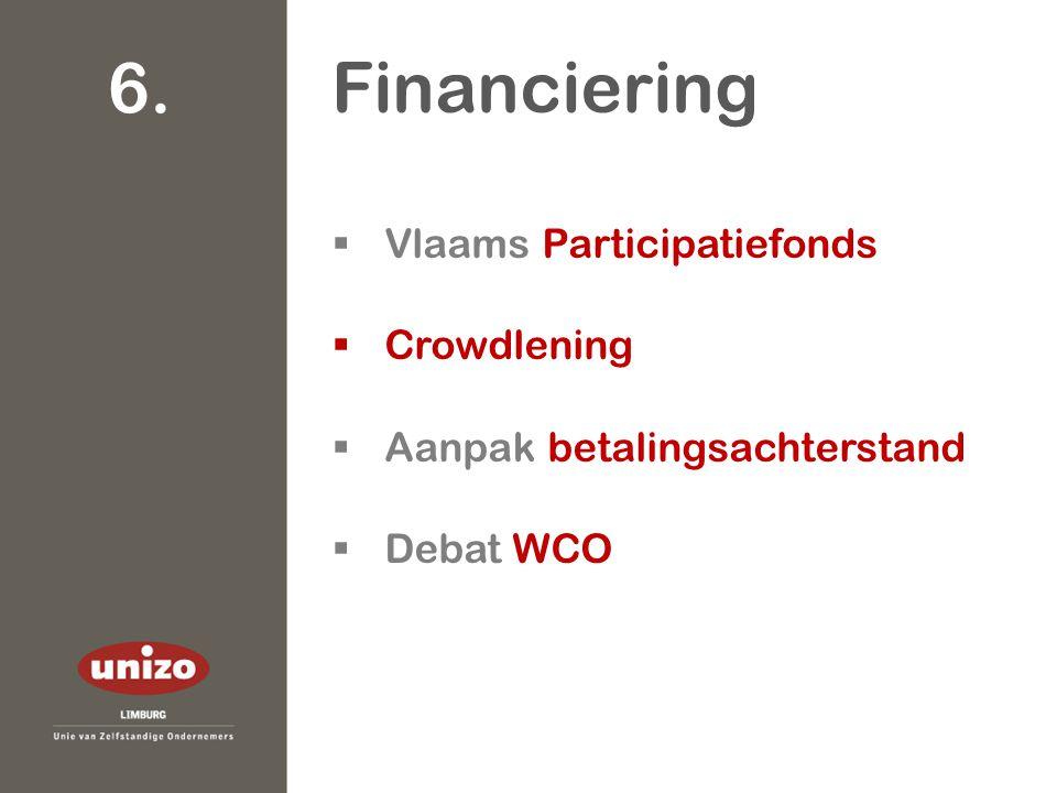  Vlaams Participatiefonds  Crowdlening  Aanpak betalingsachterstand  Debat WCO Financiering 6.