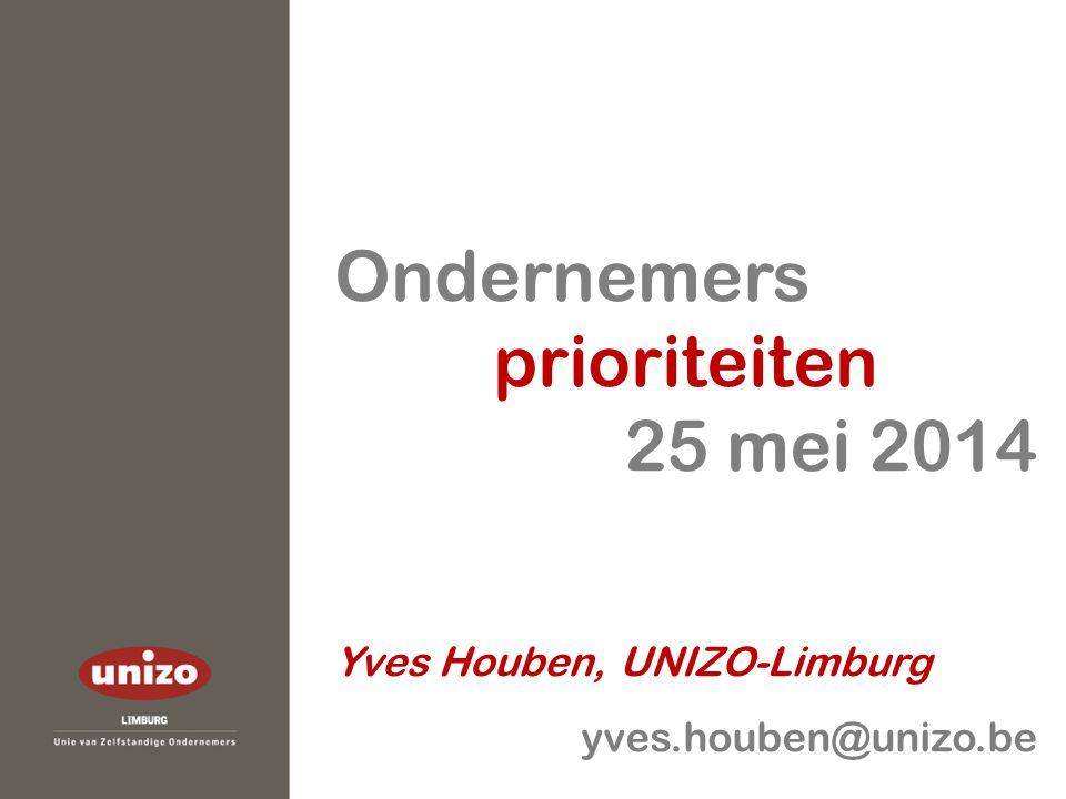 Ondernemers prioriteiten 25 mei 2014 Yves Houben, UNIZO-Limburg yves.houben@unizo.be