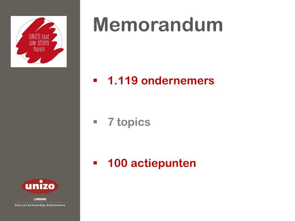  1.119 ondernemers  7 topics  100 actiepunten Memorandum