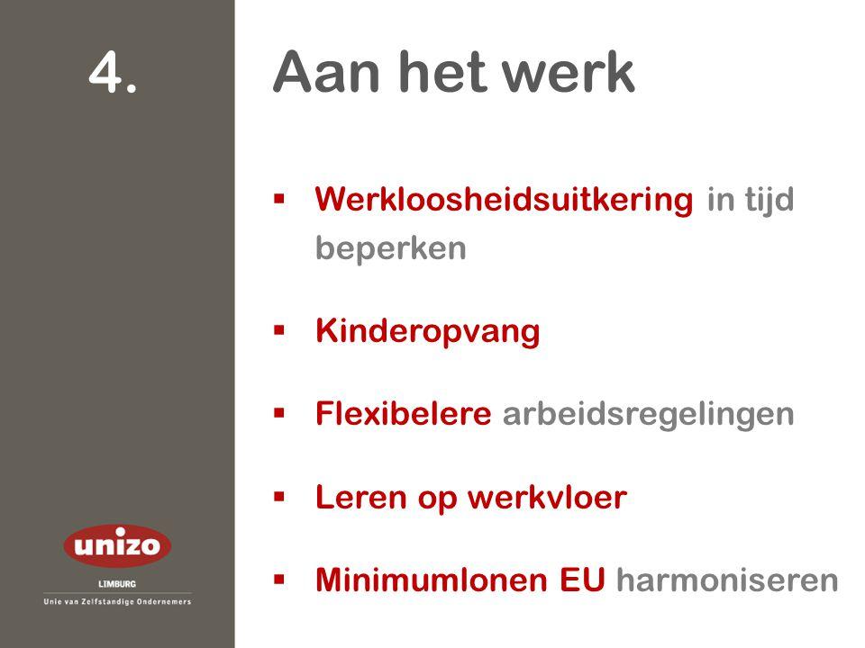  Werkloosheidsuitkering in tijd beperken  Kinderopvang  Flexibelere arbeidsregelingen  Leren op werkvloer  Minimumlonen EU harmoniseren Aan het werk 4.
