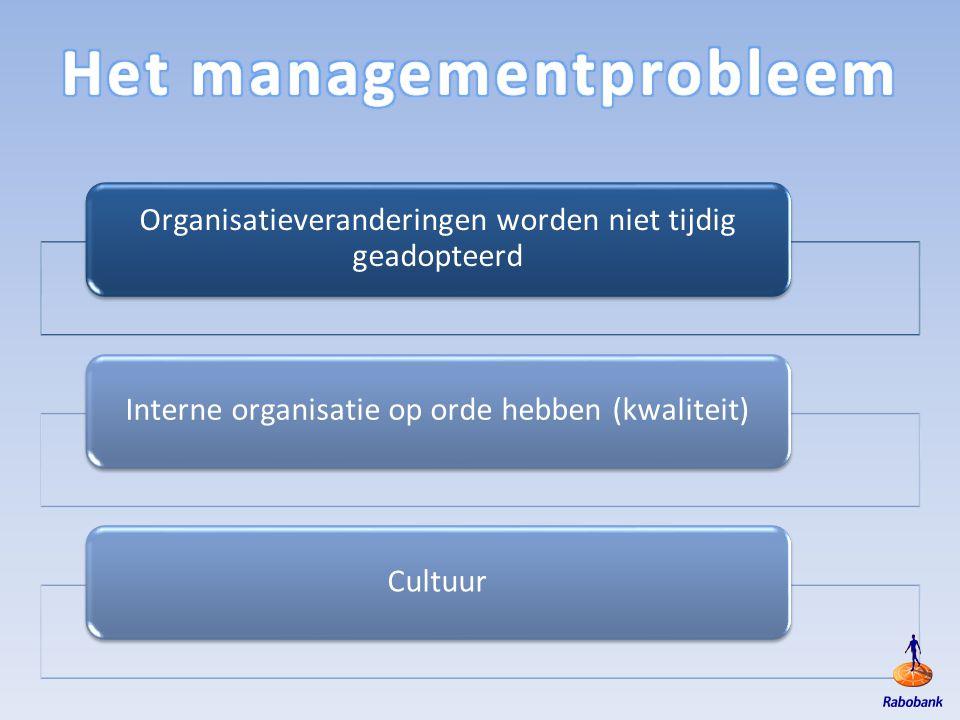Organisatieveranderingen worden niet tijdig geadopteerd Interne organisatie op orde hebben (kwaliteit)Cultuur