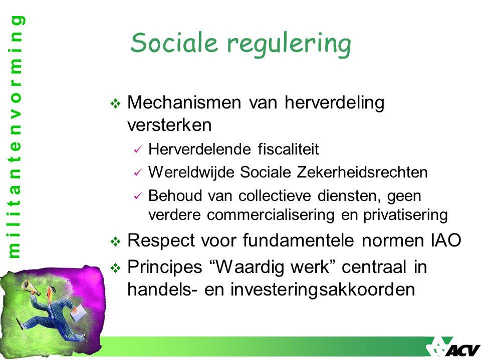 m i l i t a n t e n v o r m i n g Sociale regulering  Mechanismen van herverdeling versterken Herverdelende fiscaliteit Wereldwijde Sociale Zekerheid
