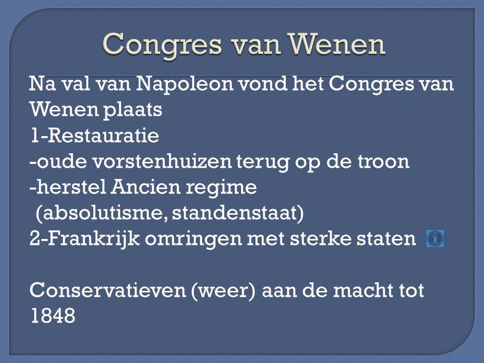 Na val van Napoleon vond het Congres van Wenen plaats 1-Restauratie -oude vorstenhuizen terug op de troon -herstel Ancien regime (absolutisme, standen