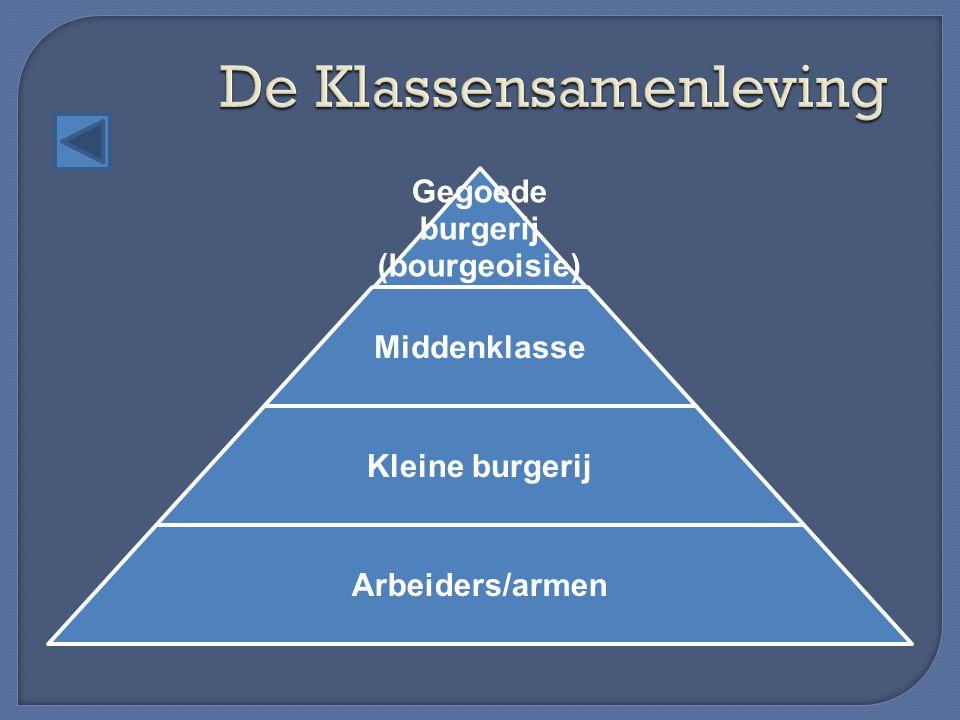 Gegoede burgerij (bourgeoisie) Middenklasse Kleine burgerij Arbeiders/armen