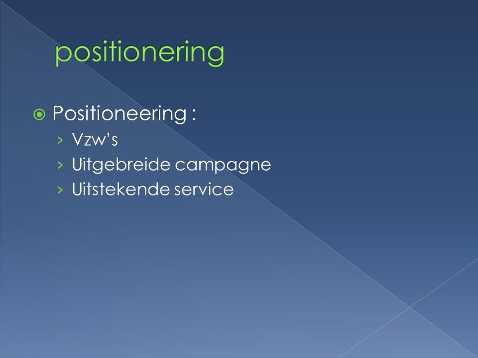  Positioneering : › Vzw's › Uitgebreide campagne › Uitstekende service