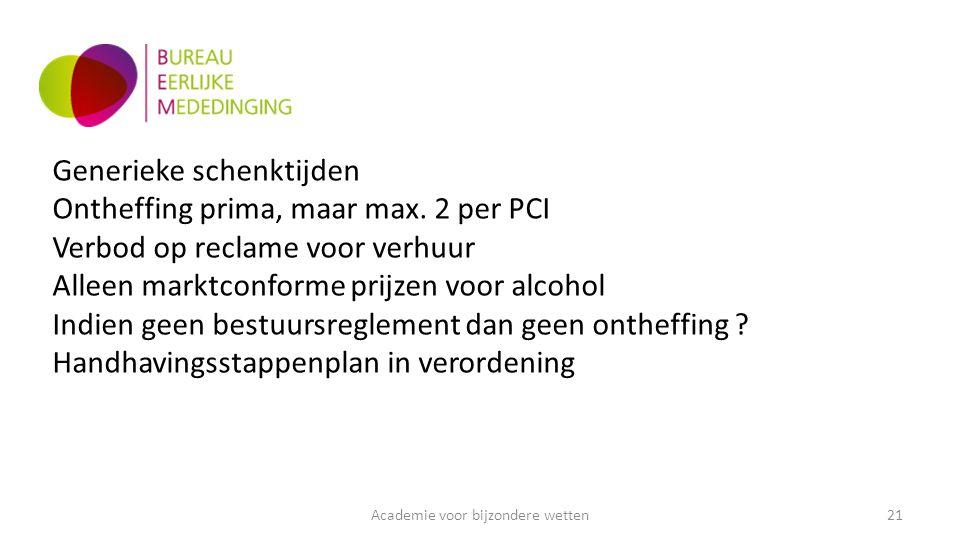 Academie voor bijzondere wetten21 Generieke schenktijden Ontheffing prima, maar max.
