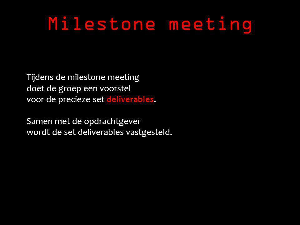 Milestone meeting Tijdens de milestone meeting doet de groep een voorstel voor de precieze set deliverables.