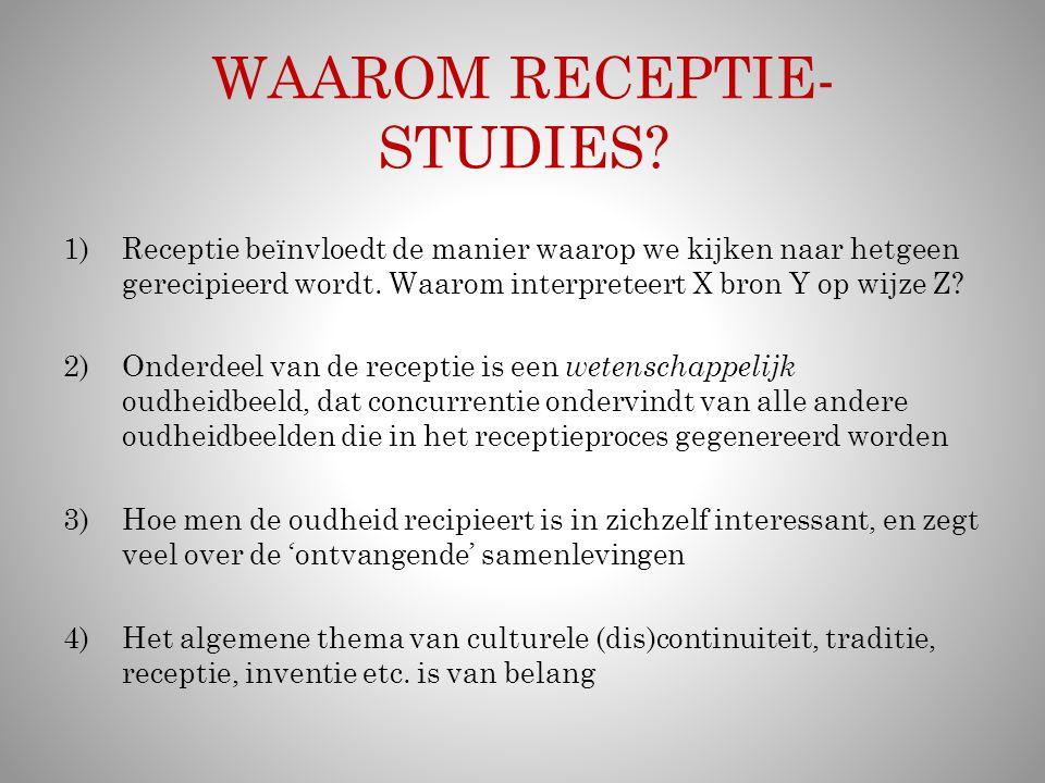HET BREDE TERREIN VAN DE RECEPTIE-STUDIES Receptie-theorie en receptie-geschiedenis Receptie-studies betreffen evident 'de kunsten' (performatief, beeldend, literair, architectonisch…), maar ook alle andere aspecten van de 'ontvangende' samenleving Receptie-studies omvatten ook de bestudering van de oudheid Receptie kan de vorm of de inhoud betreffen, of beide in wisselende combinaties Pogingen tot re-creatie van 'de oudheid' zijn, paradoxaal, veelal een bijzonder geval van receptie van de inhoud
