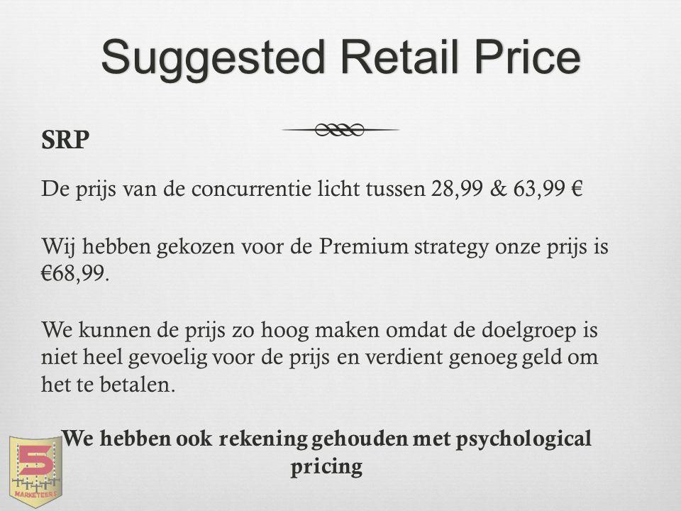 Suggested Retail PriceSuggested Retail Price SRP De prijs van de concurrentie licht tussen 28,99 & 63,99 € Wij hebben gekozen voor de Premium strategy