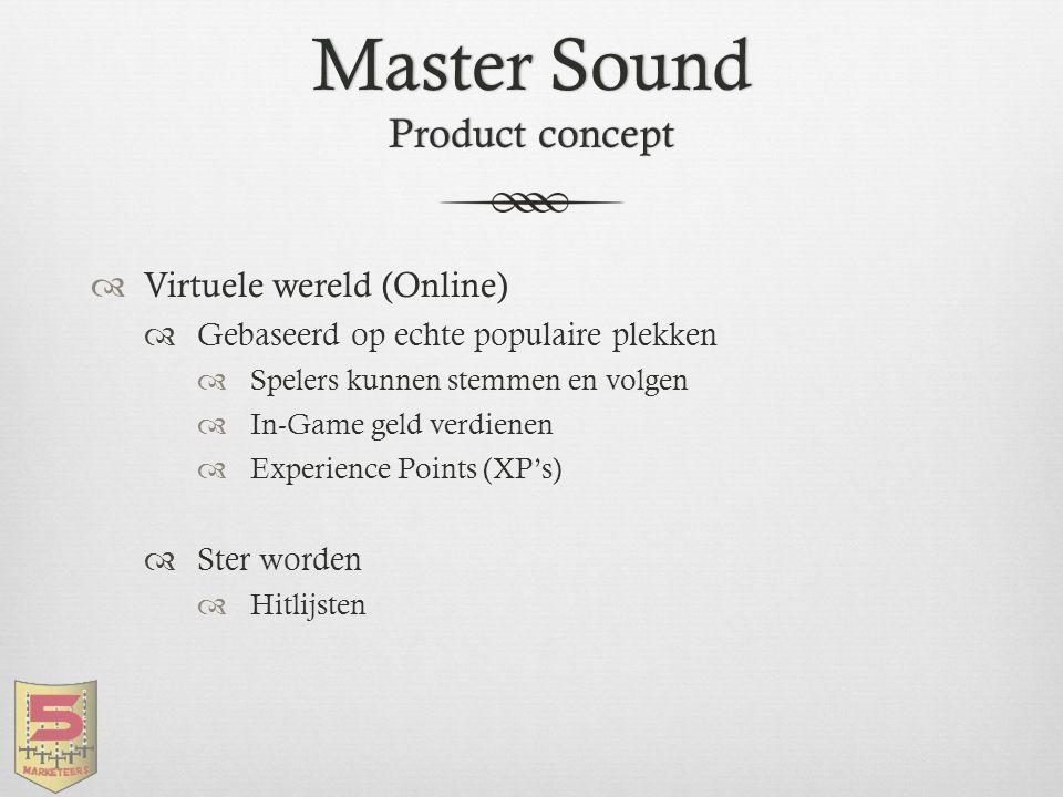 Master Sound Product concept  Virtuele wereld (Online)  Gebaseerd op echte populaire plekken  Spelers kunnen stemmen en volgen  In-Game geld verdi