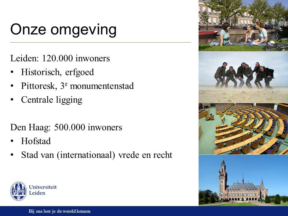 Bij ons leer je de wereld kennen Onze omgeving Leiden: 120.000 inwoners Historisch, erfgoed Pittoresk, 3 e monumentenstad Centrale ligging Den Haag: 5