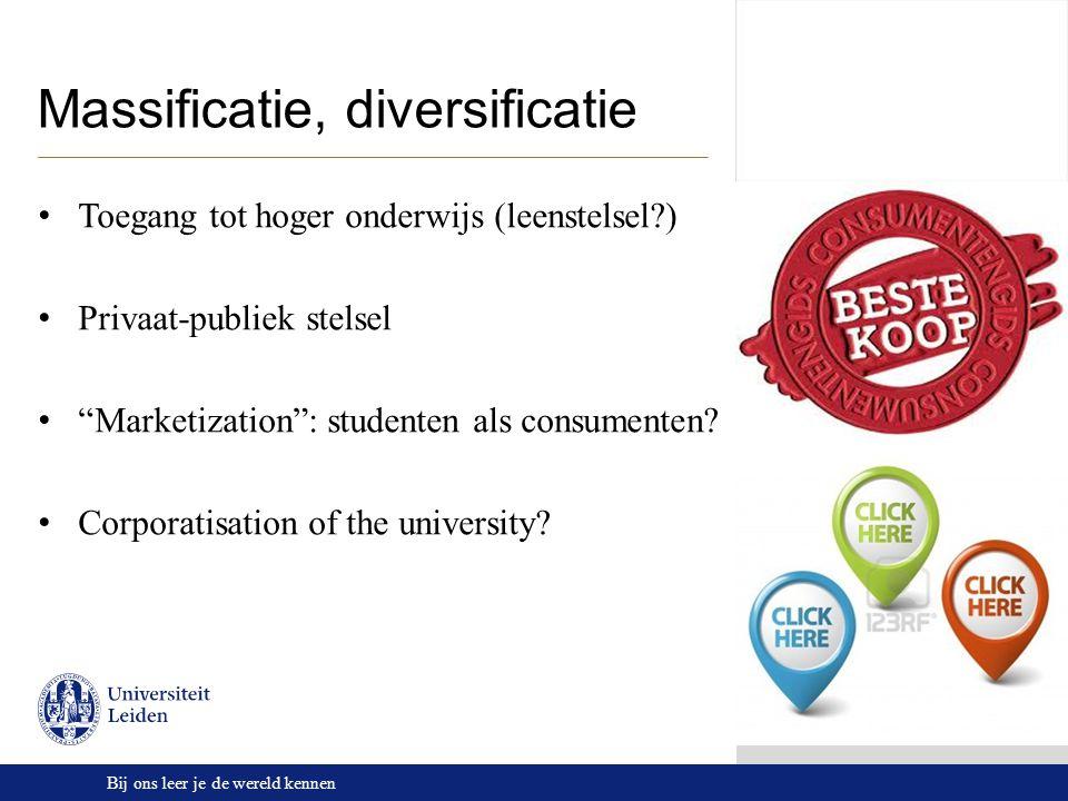 """Bij ons leer je de wereld kennen Massificatie, diversificatie Toegang tot hoger onderwijs (leenstelsel?) Privaat-publiek stelsel """"Marketization"""": stud"""