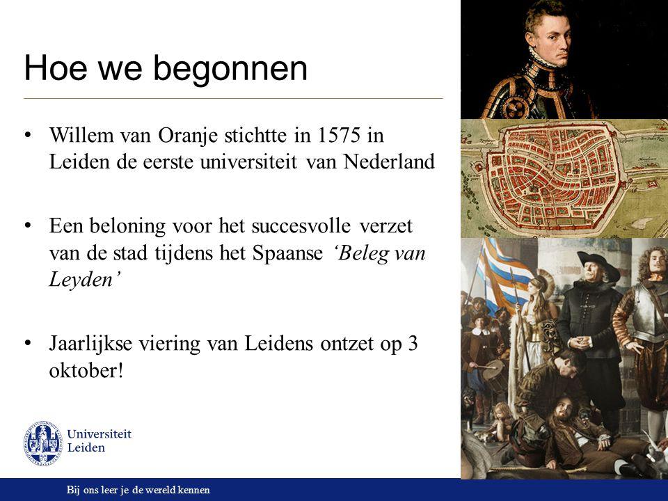 Bij ons leer je de wereld kennen Onze omgeving Leiden: 120.000 inwoners Historisch, erfgoed Pittoresk, 3 e monumentenstad Centrale ligging Den Haag: 500.000 inwoners Hofstad Stad van (internationaal) vrede en recht