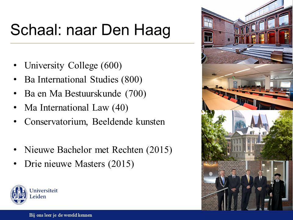 Bij ons leer je de wereld kennen Schaal: naar Den Haag University College (600) Ba International Studies (800) Ba en Ma Bestuurskunde (700) Ma Interna