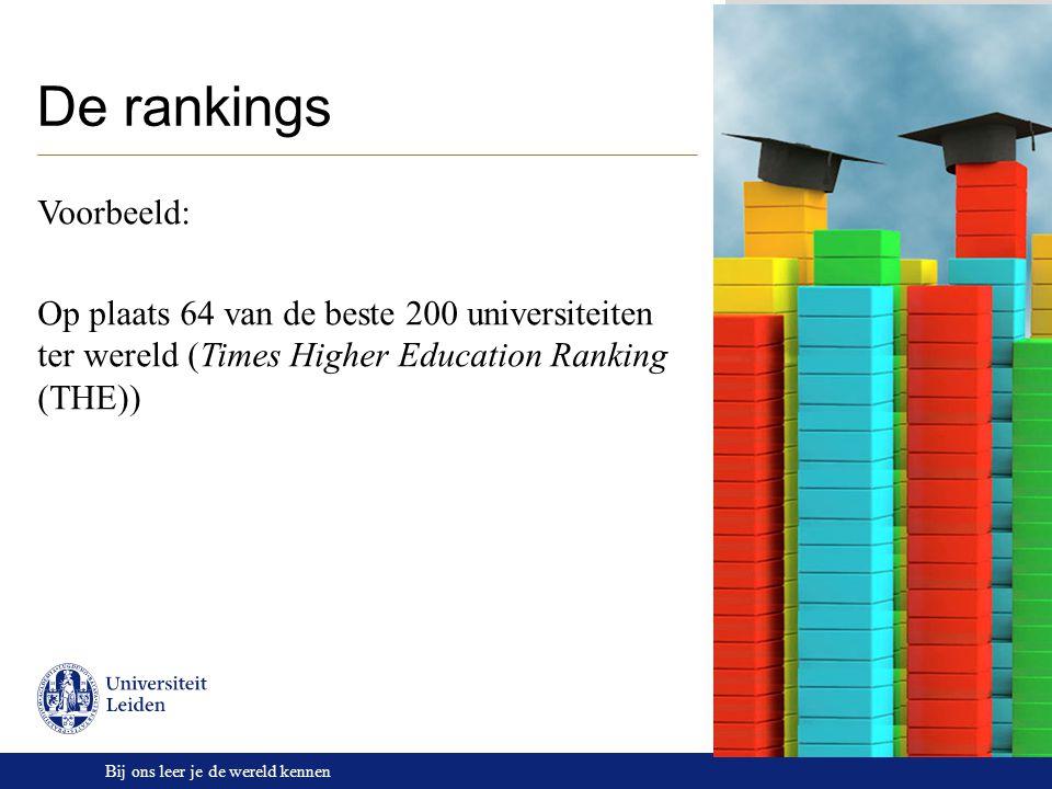 Bij ons leer je de wereld kennen De rankings Voorbeeld: Op plaats 64 van de beste 200 universiteiten ter wereld (Times Higher Education Ranking (THE))