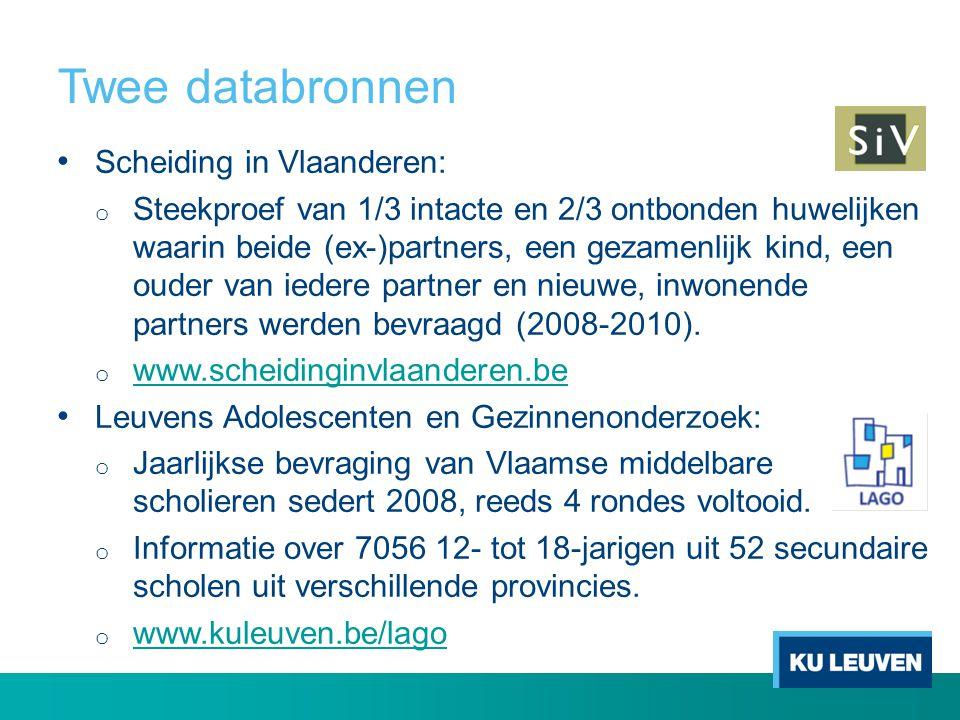 Twee databronnen Scheiding in Vlaanderen: o Steekproef van 1/3 intacte en 2/3 ontbonden huwelijken waarin beide (ex-)partners, een gezamenlijk kind, e