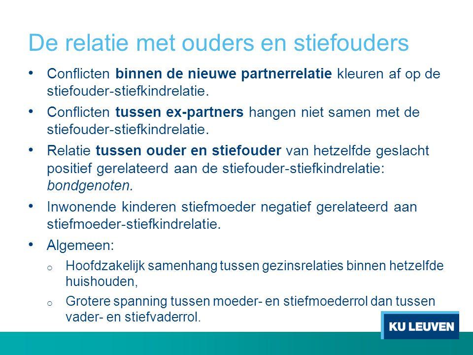 De relatie met ouders en stiefouders Conflicten binnen de nieuwe partnerrelatie kleuren af op de stiefouder-stiefkindrelatie. Conflicten tussen ex-par