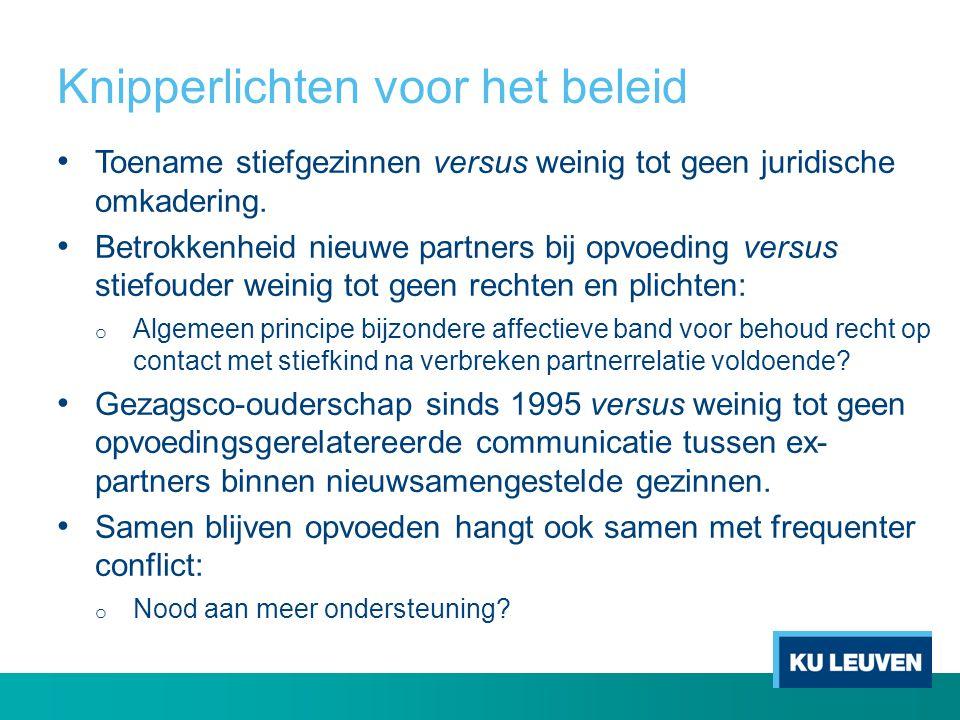 Knipperlichten voor het beleid Toename stiefgezinnen versus weinig tot geen juridische omkadering. Betrokkenheid nieuwe partners bij opvoeding versus