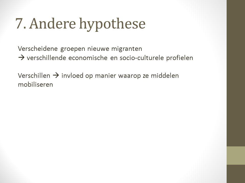 7. Andere hypothese Verscheidene groepen nieuwe migranten  verschillende economische en socio-culturele profielen Verschillen  invloed op manier waa