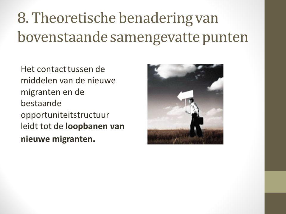 8. Theoretische benadering van bovenstaande samengevatte punten Het contact tussen de middelen van de nieuwe migranten en de bestaande opportuniteitst