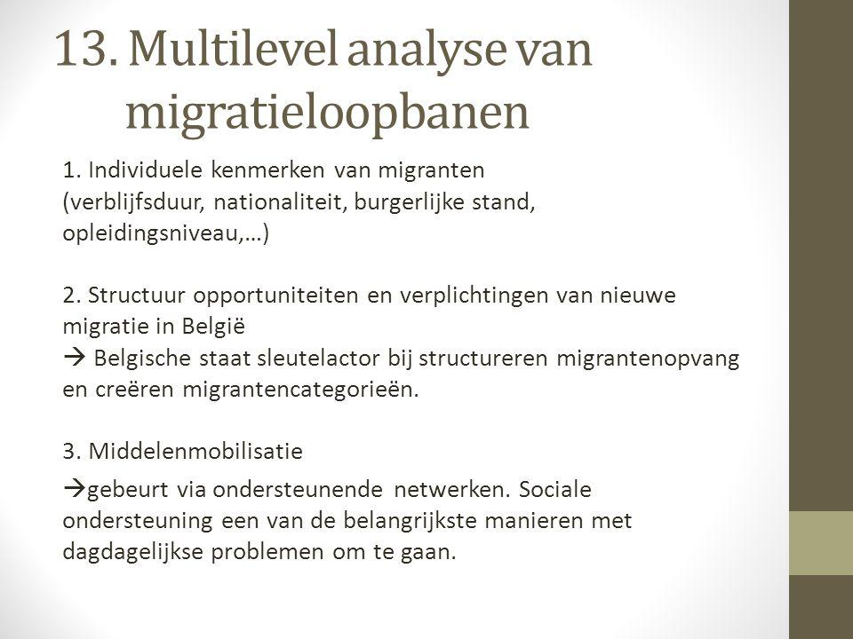 13. Multilevel analyse van migratieloopbanen 1. Individuele kenmerken van migranten (verblijfsduur, nationaliteit, burgerlijke stand, opleidingsniveau