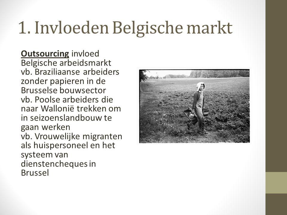 1. Invloeden Belgische markt Outsourcing invloed Belgische arbeidsmarkt vb. Braziliaanse arbeiders zonder papieren in de Brusselse bouwsector vb. Pool
