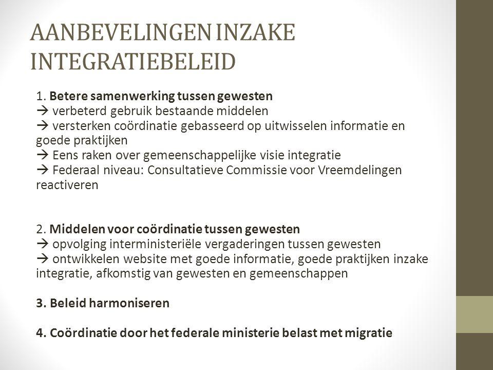 AANBEVELINGEN INZAKE INTEGRATIEBELEID 1. Betere samenwerking tussen gewesten  verbeterd gebruik bestaande middelen  versterken coördinatie gebasseer