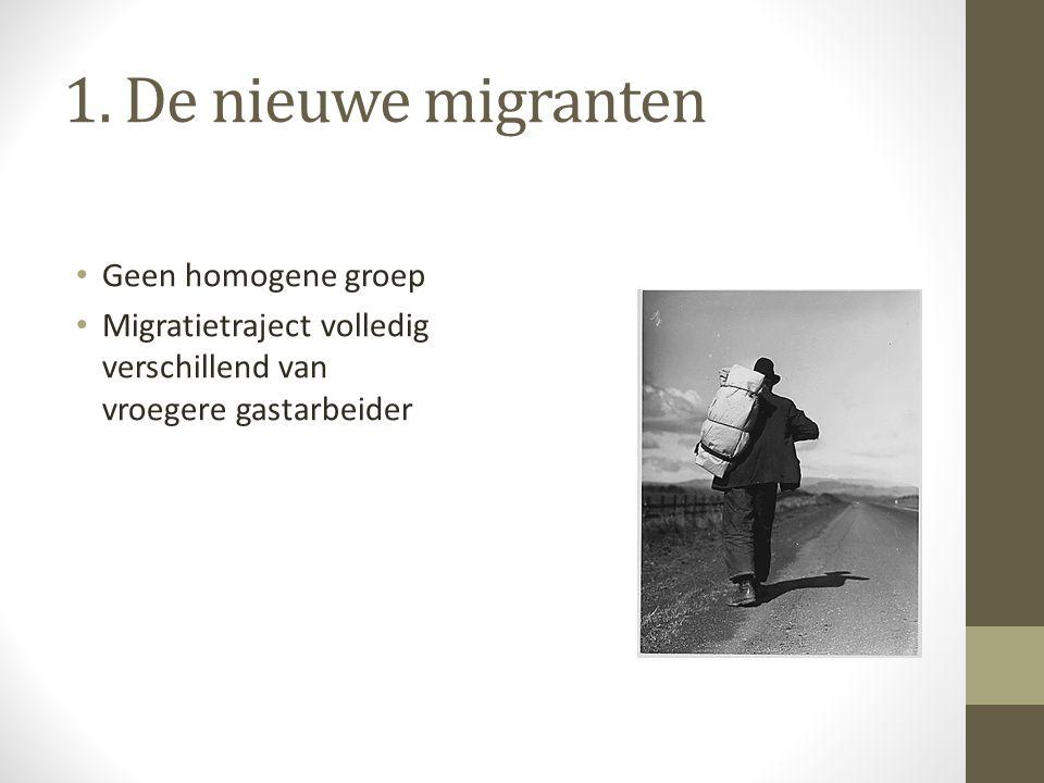 1. De nieuwe migranten Geen homogene groep Migratietraject volledig verschillend van vroegere gastarbeider