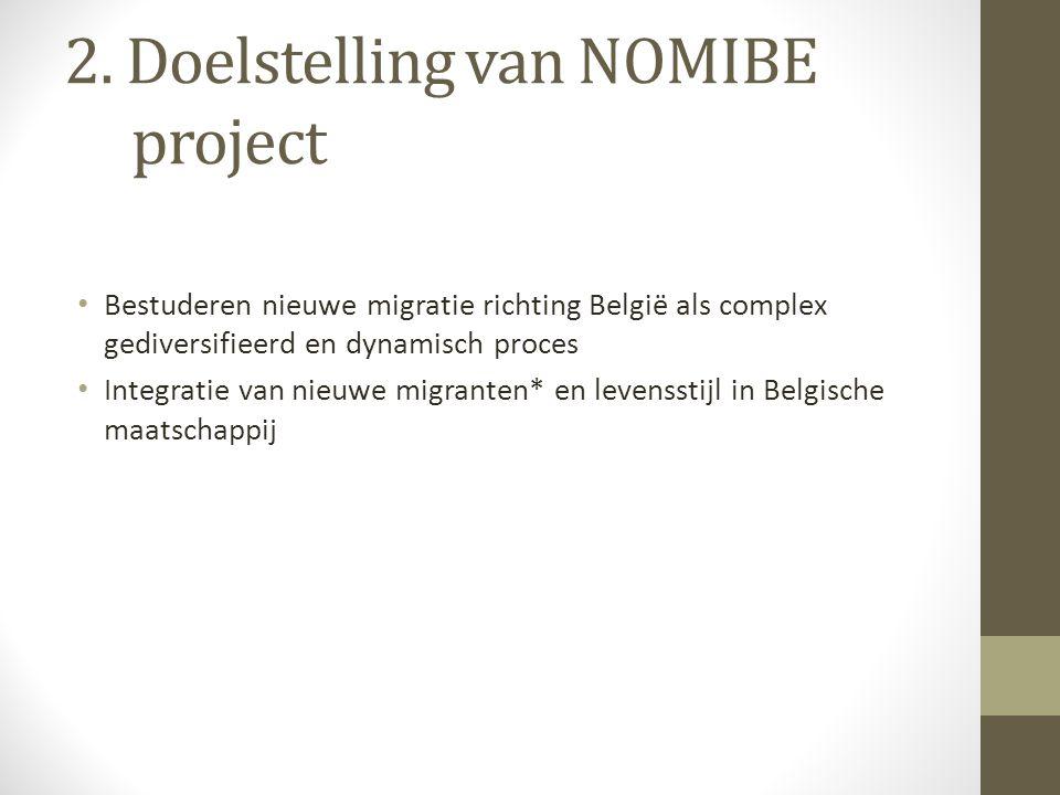 2. Doelstelling van NOMIBE project Bestuderen nieuwe migratie richting België als complex gediversifieerd en dynamisch proces Integratie van nieuwe mi