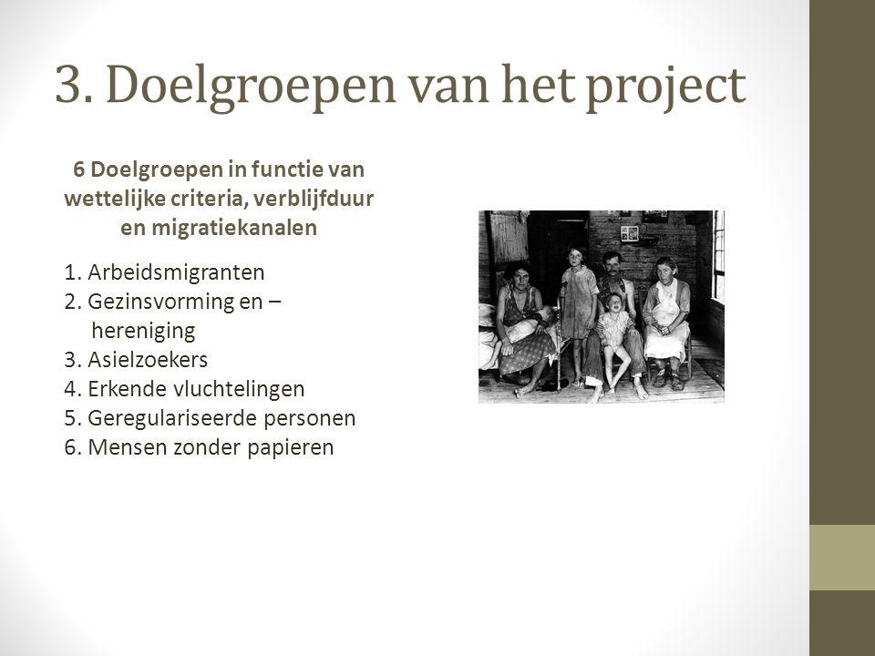 3. Doelgroepen van het project 6 Doelgroepen in functie van wettelijke criteria, verblijfduur en migratiekanalen 1. Arbeidsmigranten 2. Gezinsvorming