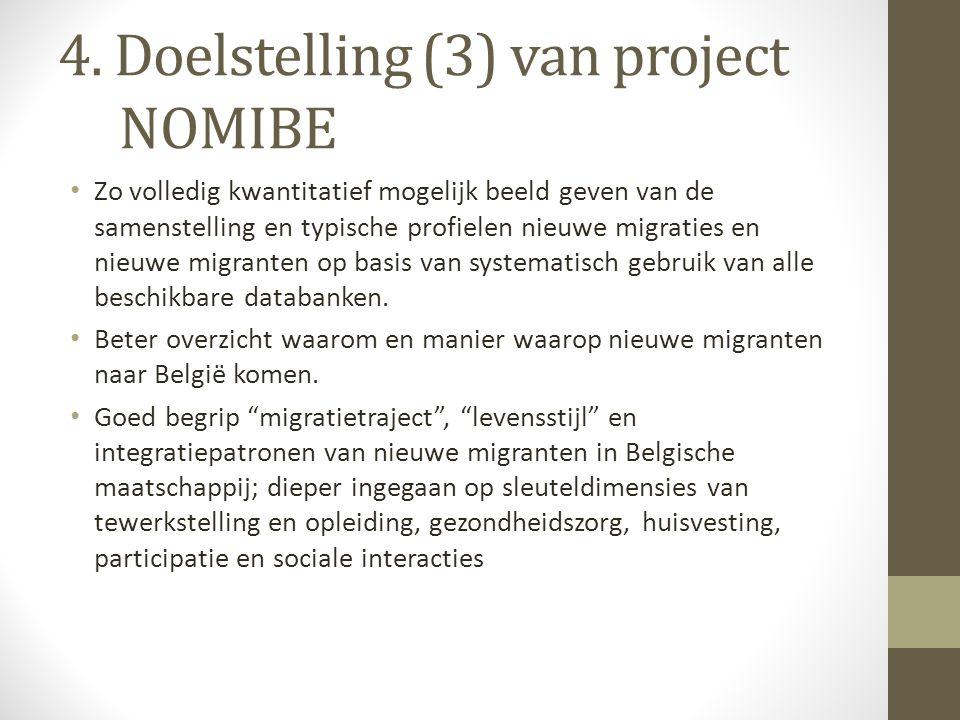 4. Doelstelling (3) van project NOMIBE Zo volledig kwantitatief mogelijk beeld geven van de samenstelling en typische profielen nieuwe migraties en ni