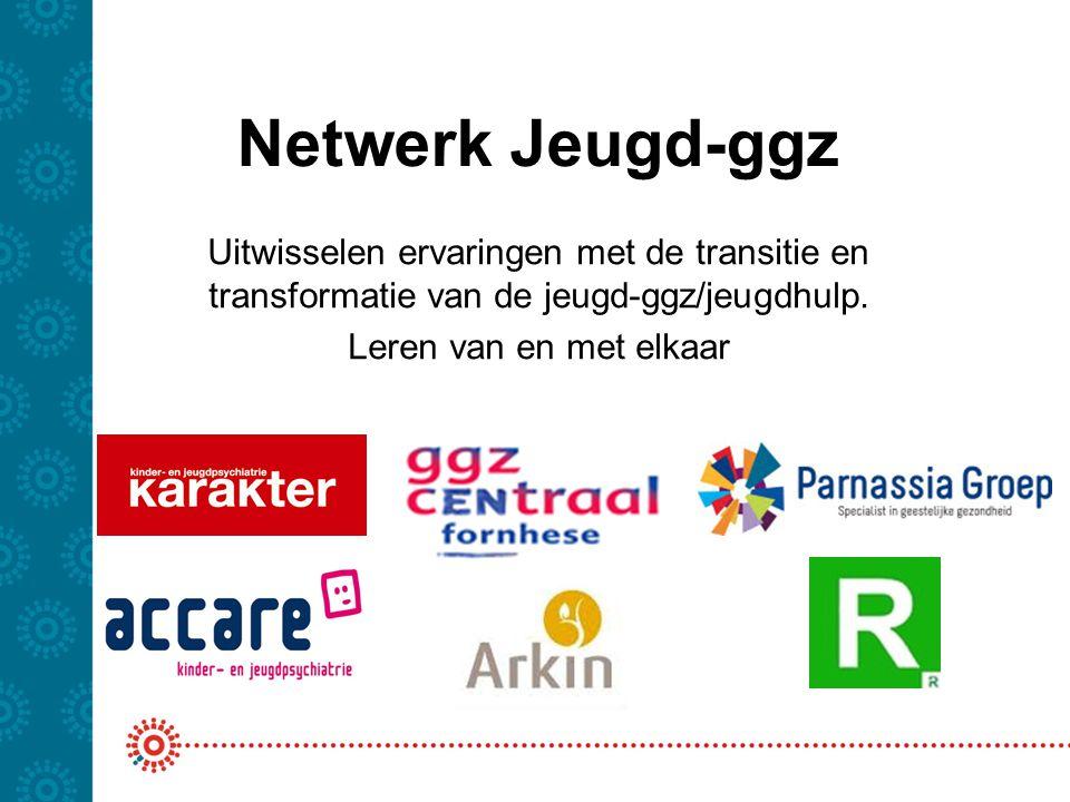 Netwerk Jeugd-ggz Uitwisselen ervaringen met de transitie en transformatie van de jeugd-ggz/jeugdhulp. Leren van en met elkaar