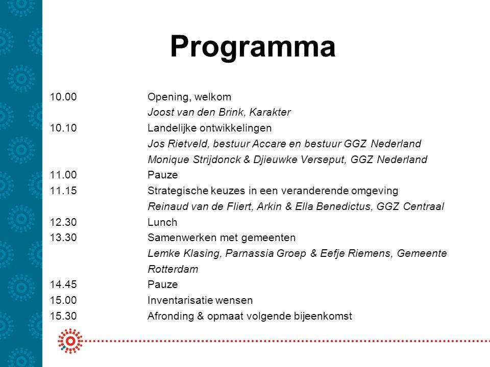 Programma 10.00Opening, welkom Joost van den Brink, Karakter 10.10Landelijke ontwikkelingen Jos Rietveld, bestuur Accare en bestuur GGZ Nederland Moni