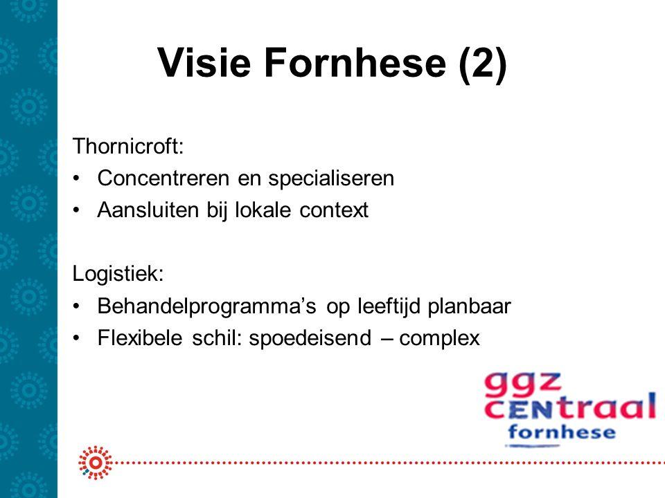 Visie Fornhese (2) Thornicroft: Concentreren en specialiseren Aansluiten bij lokale context Logistiek: Behandelprogramma's op leeftijd planbaar Flexib