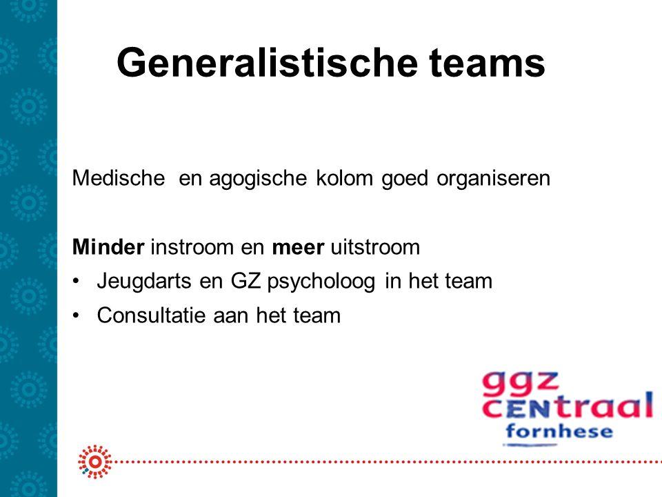 Generalistische teams Medische en agogische kolom goed organiseren Minder instroom en meer uitstroom Jeugdarts en GZ psycholoog in het team Consultati