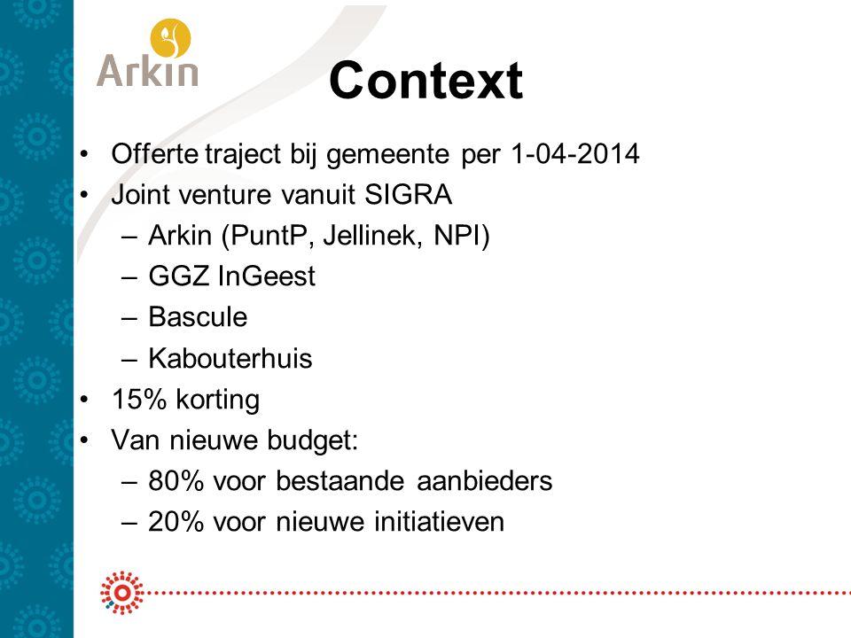 Context Offerte traject bij gemeente per 1-04-2014 Joint venture vanuit SIGRA –Arkin (PuntP, Jellinek, NPI) –GGZ InGeest –Bascule –Kabouterhuis 15% ko