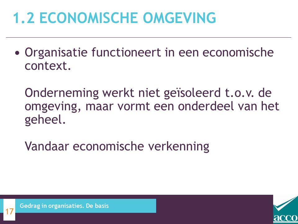 Organisatie functioneert in een economische context. Onderneming werkt niet geïsoleerd t.o.v. de omgeving, maar vormt een onderdeel van het geheel. Va
