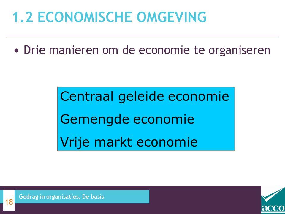 Drie manieren om de economie te organiseren 1.2 ECONOMISCHE OMGEVING 18 Gedrag in organisaties. De basis Centraal geleide economie Gemengde economie V