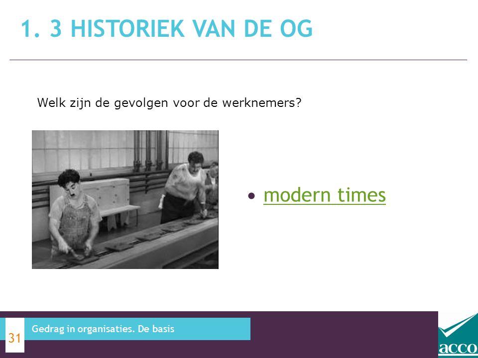 modern times 1. 3 HISTORIEK VAN DE OG 31 Gedrag in organisaties. De basis Welk zijn de gevolgen voor de werknemers?