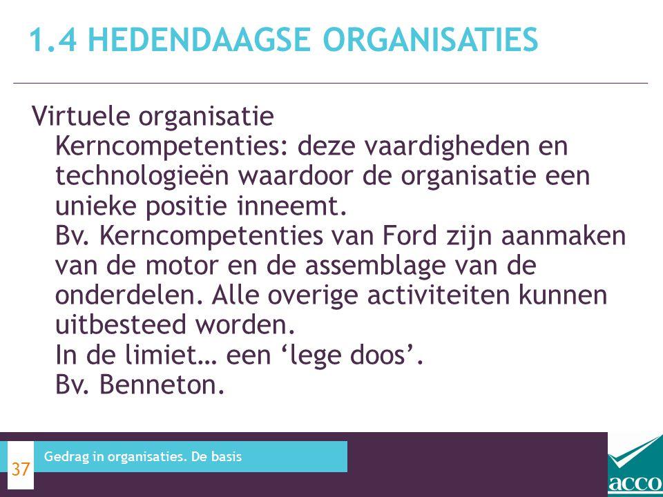 Virtuele organisatie Kerncompetenties: deze vaardigheden en technologieën waardoor de organisatie een unieke positie inneemt. Bv. Kerncompetenties van