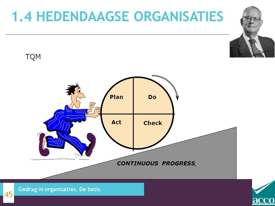 1.4 HEDENDAAGSE ORGANISATIES 45 Gedrag in organisaties. De basis CONTINUOUS PROGRESS PlanDo Act Check TQM