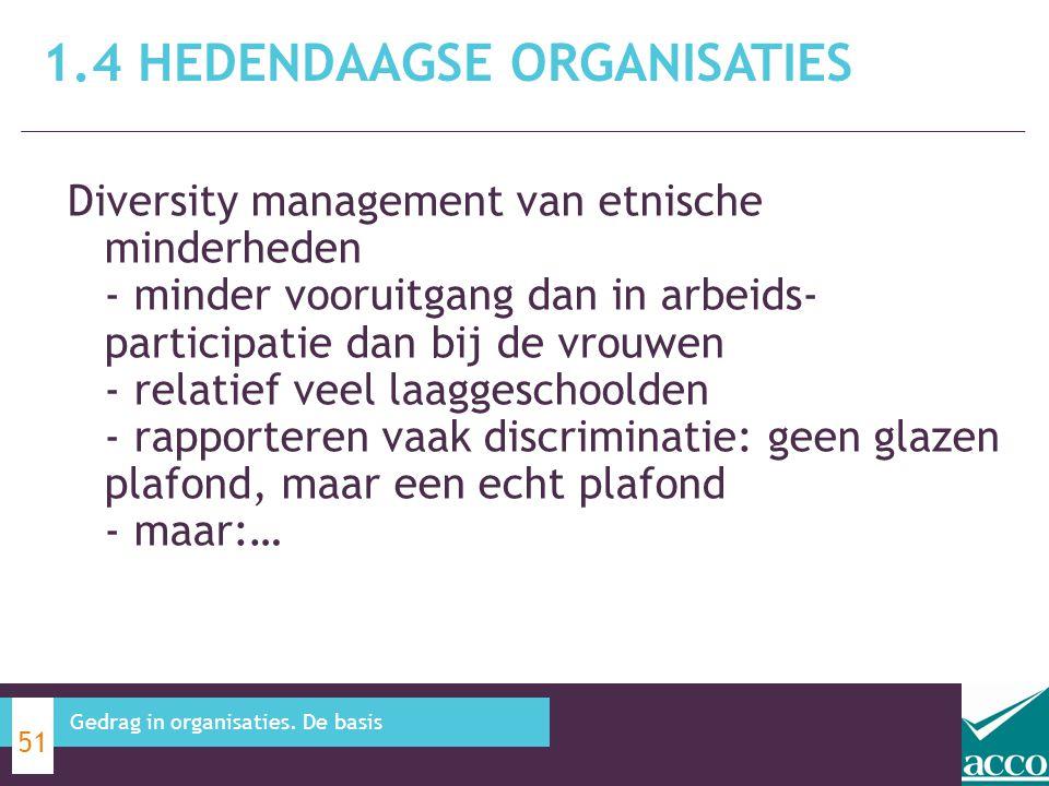 1.4 HEDENDAAGSE ORGANISATIES 51 Gedrag in organisaties. De basis Diversity management van etnische minderheden - minder vooruitgang dan in arbeids- pa